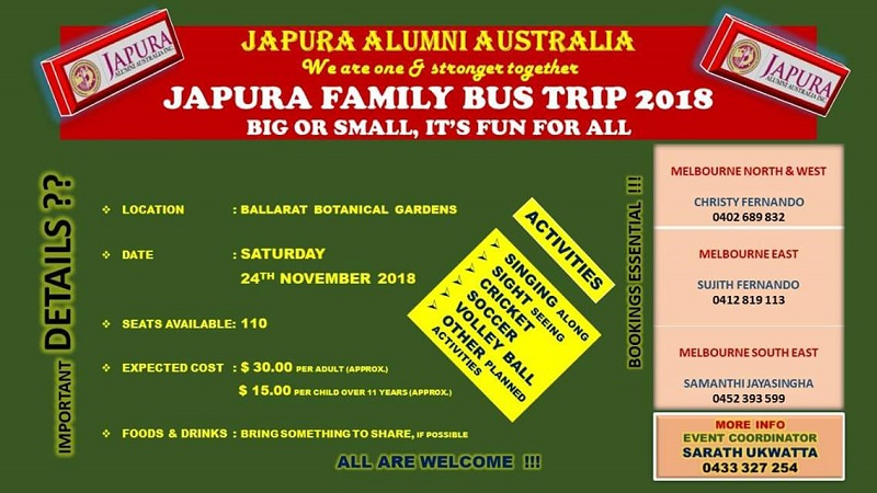 Open Invitation to Japura Family Bus Trip 2018